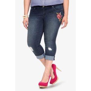 Torrid Embroidered Crop Jeans